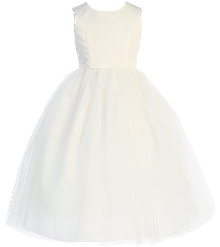 Girl's Special Occasion Tulle Princess Cut Dress - Ivory - 6