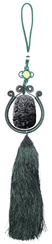 SUNNYHER Obsidian Apache Tears Stone Jewelry Car Mirror Amulet Pendant Hanging Decorations Chinese Zodiac Dragon Chinese Lucky Knot Tassels Accessories