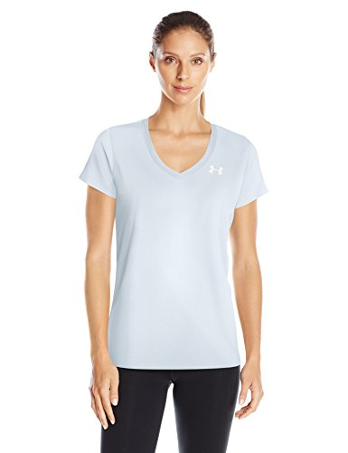 Under Armour Women's Tech Twist V-Neck, Halogen Blue (441)/Metallic Silver, X-Small by Under Armour (Image #1)