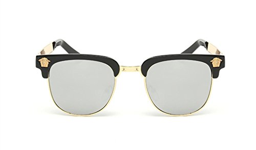 Retro Reflective Color Film Sunglasses Metal Half Frame Trendsetter - Sunglasses Electric Locator Store