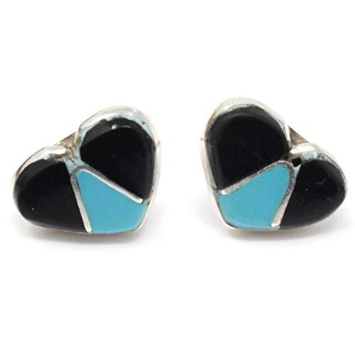 - Zuni Imitation Turquoise & Jet Heart Sterling Silver Stud Earrings by Bowannie | 7/16