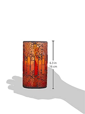 Mosaic Glass Flameless Pillar Led Candle with Timer,Red