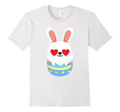 Men's Easter Bunny Emoji Heart Love Eye Shirt T-Shirt Rabbit Tee Small White (Cute Candy Corn Costumes)