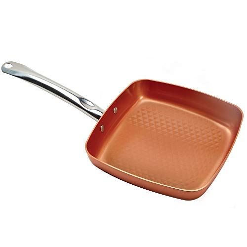 Copper Chef 9.5 Inch Diamond Fry Pan | Square Frying Pan With Lid | Skillet with Ceramic Non Stick | Perfect Cookware For Sauté And Grill