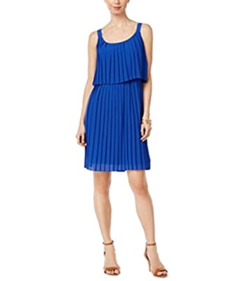NY Collection Pleated Popover Dress Cobalt Blue M