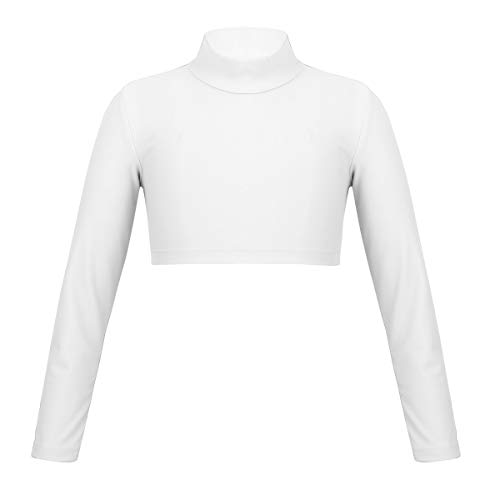 ranrann Kids Girls Long Sleeves Mock Neck Crop Top Yoga Gymnastic Ballet Dance Dancewear Ivory - Shirt Neck Ballet