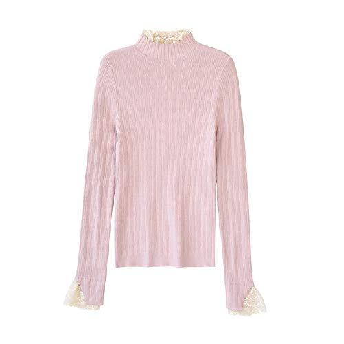 Dabuwawa Women Lace Knitted Sweater Christmas Pink Casual Turtleneck Pullover Top from Dabuwawa