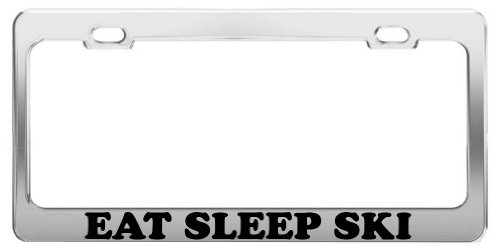 EAT SLEEP SKI License Plate Frame Tag Holder Car Truck Accessory Gift (Ski Holder For Car)