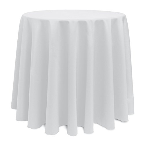 Ultimate Textile (10 Pack) 108-Inch Round Polyester Linen Tablecloth - for Wedding, Restaurant or Banquet use, White by Ultimate Textile