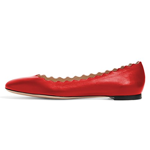 Shoes Cute Women FSJ Comfort Scalloping US 4 Flats for 15 Size Toe Ballet Red Dress matte Round Suede wptRqdWR5r