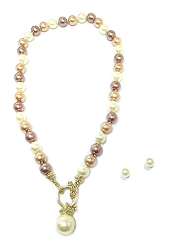 [Goldtone Gorgeous Chocolate, Cream, and Champagne 10mm Glass Bead Short Necklace and Stud Earrings] (1800s Dresses Costumes)