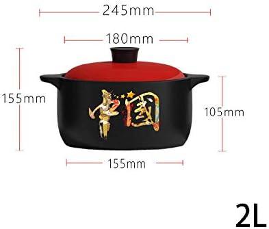 UWY Casserole Pot Casserole en céramique - Casserole Pot à ragoût Soupe Ménage Cuisinière à gaz Naturel Flamme Ouverte Céramique Haute température Super Grand Pot en céramique-2L