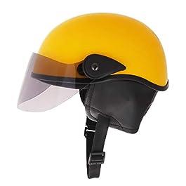 Western Era Half Helmet with Clear Visor for Men & Women ||Safety & Comfort|| Stylish Enhanced Design || (Yellow Glossy…