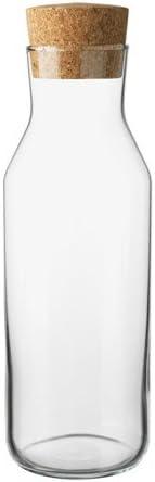 IKEA 365 (34 oz), jarra de cristal con tapón de corcho, ideal para caliente y fría jarra de agua, té/cafetera eléctrica, té helado, bebidas jarra así ...