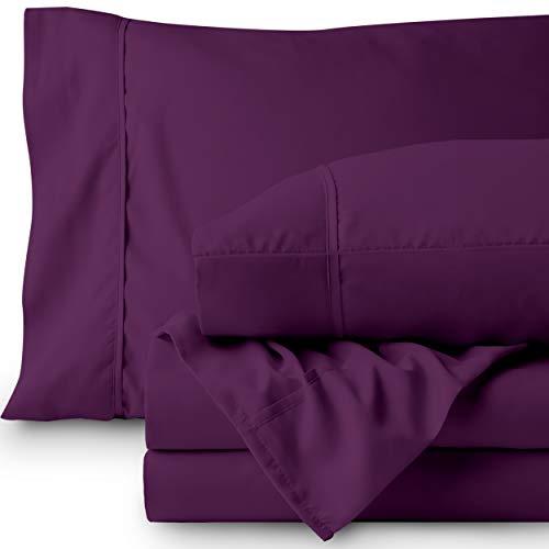 Bare Home Premium 1800 Ultra-Soft Microfiber Collection Sheet Set - Double Brushed - Hypoallergenic - Wrinkle Resistant - Deep Pocket (Twin, Plum)