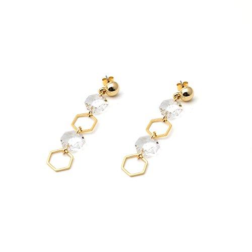 Delice N Delight Fashion Jewelry Women Earrings Paris-Tiffany style metal ball hexagon shape Swarovski - Tiffany N Co