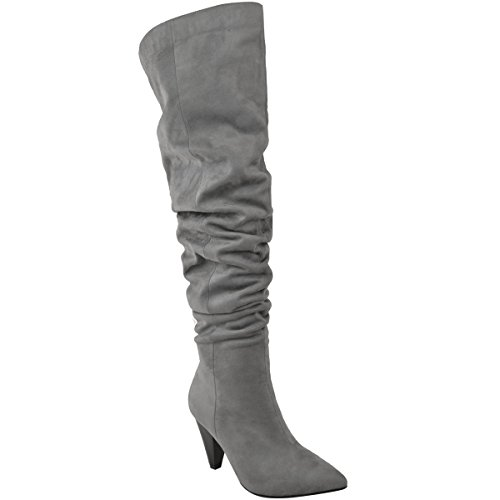 New Womens Ladies Over The Knee Boots Thigh High Ruched Pointy Casual Shoes Size Grey Faux Suede