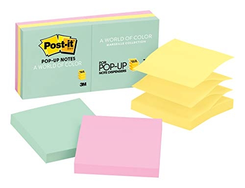 Pastel Colors Refill Notes - Post-it Pop-up Notes, America's #1 Favorite Sticky Note, 3 in x 3 in, Marseille Collection, 6 Pads/Pack (R330-AP)