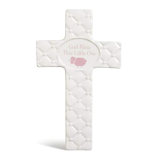 - DEMDACO Baby Pink God Bless This Little One 7 inch Ceramic Table Top Cross