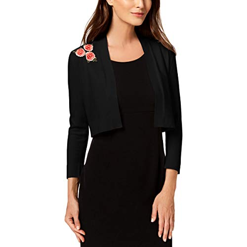 Calvin Klein Womens Embroidered Open Front Shrug Sweater Black M