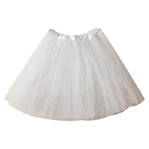 Womens White Ballerina Costume (Women's Mini Tutu Skirt Elastic Layered Tulle Costume Party Dance)
