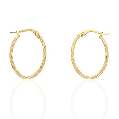 14k Yellow Gold Textured Oval Creole Hoop Earrings