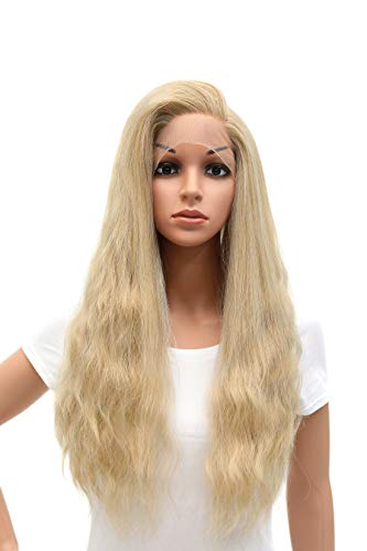 SWACC Long Straight Wavy Mixed Blonde Lace Front Wigs for Women Side Part Natural Heat Resistant Synthetic Hair…