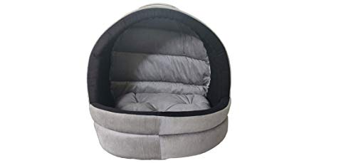 Hiputee Soft Velvet Cave House for Cats Little Dogs Pets (Small, Grey-Black)
