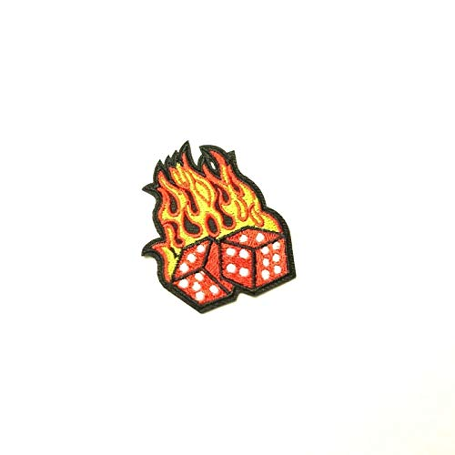 Red Flaming Dice Patch Iron-On/Sew-On Embroidered, Craps Casino, Lucky, Biker -