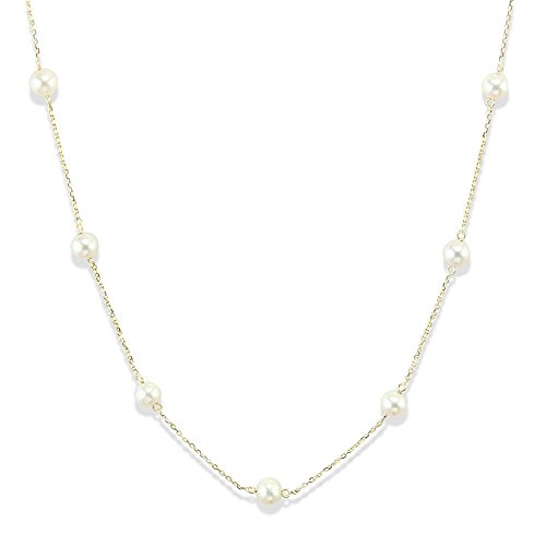 14K Yellow Gold Tin Cup Necklace With Cultured Freshwater Pearls 16, 18 and 20 Inches ()