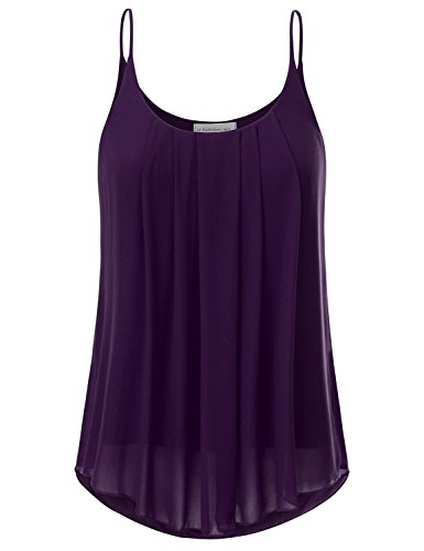 JJ Perfection Women's Pleated Chiffon Layered Cami Tank Top Magenta S ()
