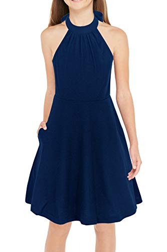 Gorlya Girl's Halter Neck Cold Shoulder Sleeveless Summer Casual Sundress A-line Dress with Pockets for 4-12 Years (GOR1013, 7-8Y, Navy Color)]()