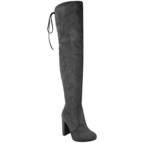 Fashion Thirsty Womens Thigh High Boots Over The Knee Party Stretch Block Mid Heel Size 8