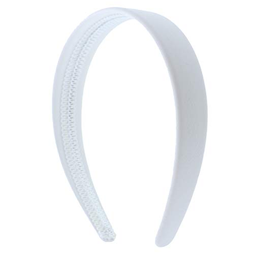 White 1 Inch Wide Leather Like Headband Solid Hair band for Women and Girls]()