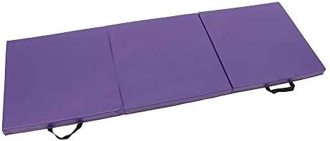 折りたたみ式 体操マット 70.8x23.6x1.9インチ折りたたみパネル体操マットジムエクササイズヨガパッドトレーニングプロテクティブギア トレーニングマット (Color : Purple, Size : 180x60x5cm)