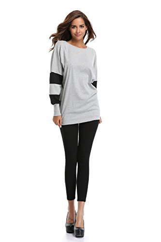 18 Misses Tops (MISS MOLY Women's Oversize Tunic Top Round Neck Batwing Sleeves Color Block (XL(US 18), Gray))