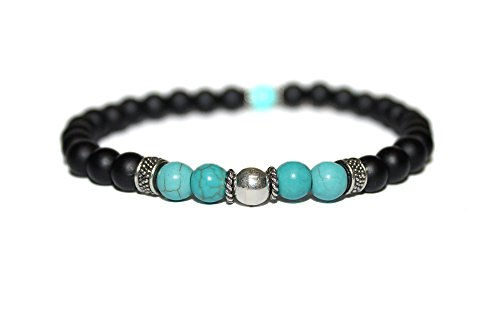 Men's Bracelet, Matte Black Onyx, Turquoise, and Sterling Silver Bali Beads Bracelet