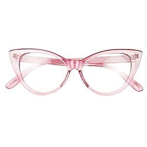 Basik Eyewear - Super Cat Eye Vintage Inspired Fashion Mod Clear Lens Sunglasses (Pink Frame, Clear Lens)
