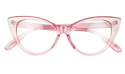 Basik Eyewear - Super Cat Eye Vintage Inspired Fashion Mod Clear Lens Sunglasses (Pink Frame, Clear - Glasses Cateye