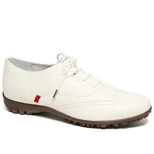 MARC JOSEPH NEW YORK Women's Leather Made in Brazil Lavceup with Wingtip Detail Golf Shoe