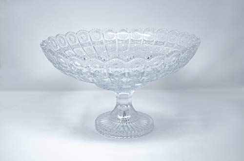 (New Elegant Crystal Glass Serving Footed Round Centerpiece for Home, Office, Décor, Serving Fruit or)