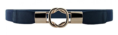 VOCHIC Womens Skinny Dress Belt for Ladies Fashion Elastic Waist Band Belts Gold Buckle (Gold Belt Size Plus Metallic)