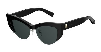 Max Mara Plastic Cat Eye Sunglasses 55 0807 Black IR gray blue - Cat Mara Max Eye Frames