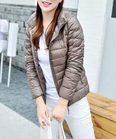Down Coats amp;E Lightweigth Collar Stand Zip Jacket Outerwear Puffer H Women's Khaki B7wvz7q