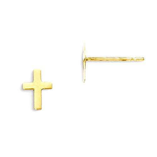 Baby 14k Cross Gold (Small 14K Yellow Gold Children's Cross Post Stud Earrings, 15mm x 6mm)