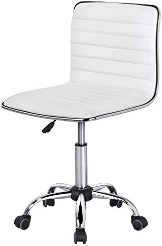 Topeakmart Office Chair PU Leather Low Back Ribbed Armless Swivel Desk Chair Office Chair Wheels White