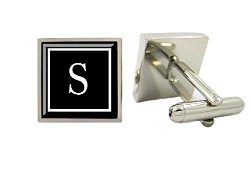 LBFEEL Monogram Cufflinks, Personalized Mens Cufflinks, Custom Initial Cufflinks with Cufflink Box