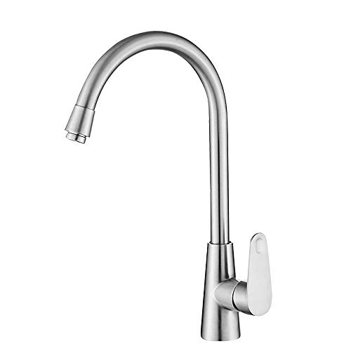 304 Stainless Steel Kitchen Sink Faucet 360 Degree Mixer Tap Single Handle Brushed Nickel Commercial Top Rated Popular Cool Best One Hole Easy Installation