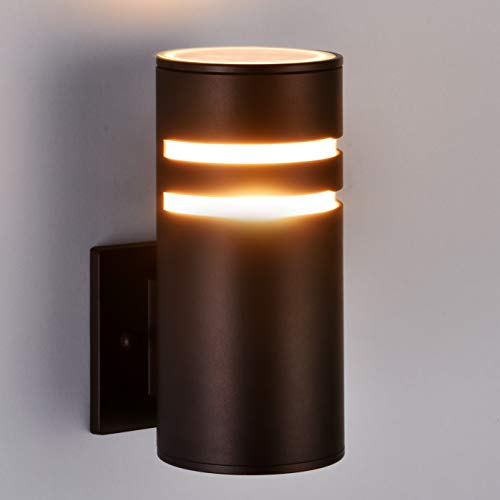 (Outdoor Wall Light Fixture, Aluminum Modern Wall Sconce Waterproof Porch Light for Outdoor/Indoor Use, Brown[ETL)