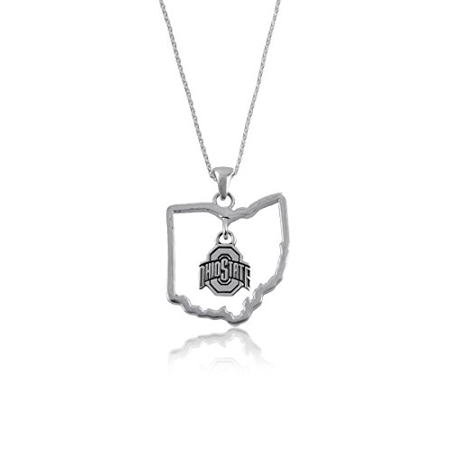 Ohio State University Buckeyes OSU Sterling Silver Jewelry by Dayna Designs (State Outline Necklace)